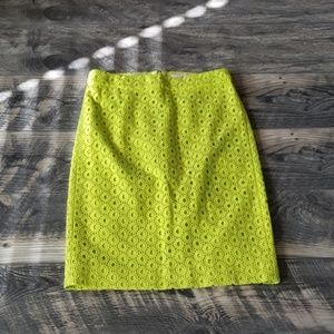 J. Crew No. 2 Pencil Skirt in Lime Green